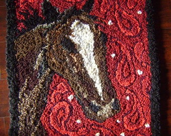 Horse in Paisley hand hooked rug