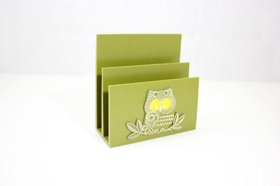 Vintage Green Owl Desk Toppers Letter Holder