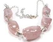 Gift for Her:  Handmade Rose Quartz Gemstone Choker