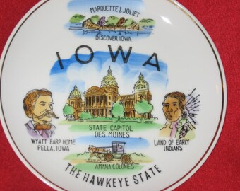 Souvenir Plate from Iowa, The Hawkeye State, made in Japan