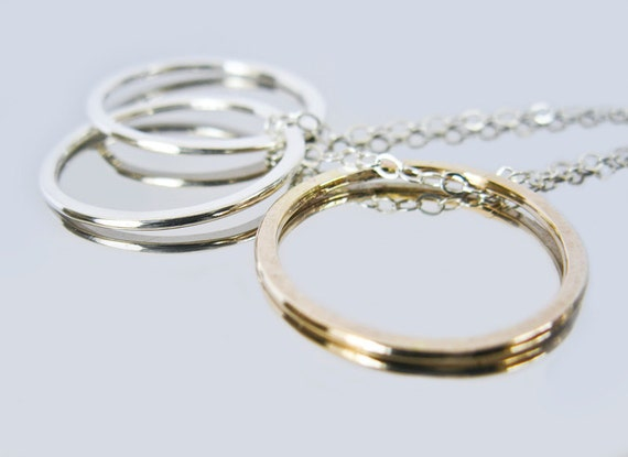 Sterling Silver Entwined Circles, Gold Circle Necklace - Past, Present & Future Necklace