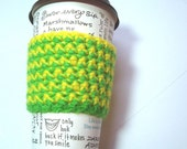 Eco-Friendly Green and Yellow Coffee Cup Sleeve