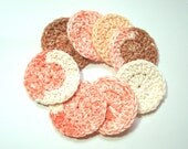 8 Peach Cobbler Cotton Facial Rounds, Bath and beauty, make up remover, crochet, handmade