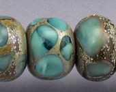 Lampwork glass bead set Blue round beads light aqua beads Made to ORDER Sea Rocks Anne Londez SRA
