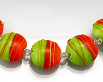 Lampwork glass beads set 5 Orange lentil beads green lentil bead set Flat beads Green lampwork Orange glass beads  Anne Londez OOAK SRA