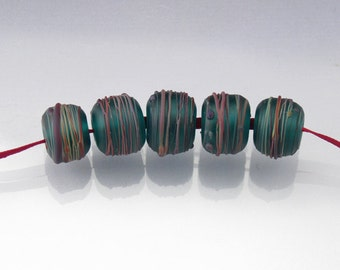 "Lampwork glass round bead set matte etched round beads ""Teal Rainbow Cocoon""  by Anne Londez SRA OOAK"