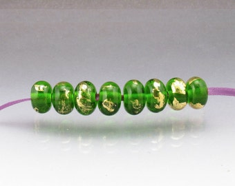 Lampwork glass bead green gold MADE to ORDER round beads by Anne Londez SRA
