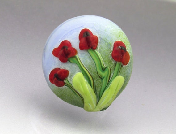 Screw on ring top lampwork glass cabochon Red Poppies interchangeable pendant Anne Londez SRA OOAK