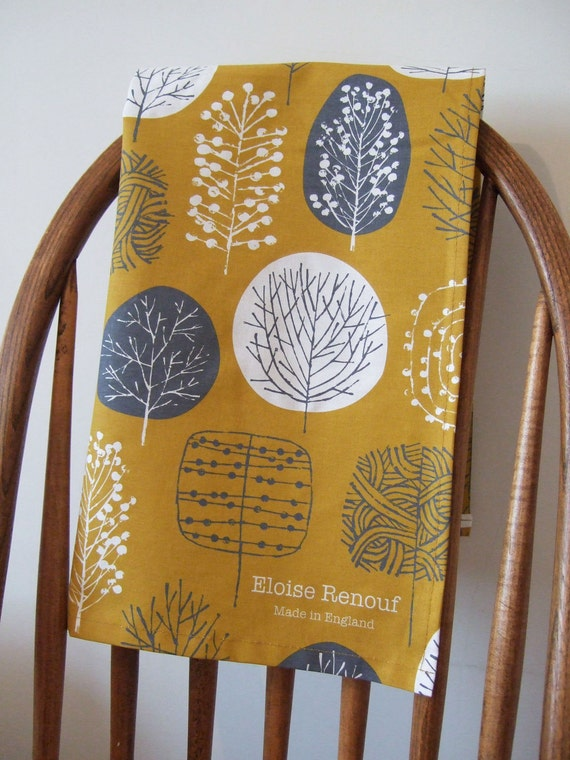 Trees Tea Towel in Mustard and Charcoal