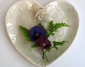 Heart Shaped Porcelain Plate with Rose, Leaves and Vines