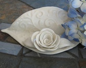 Card Holder in Cream Porcelain with Rose
