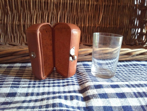 Vintage travelling Whisky glass with a leather case