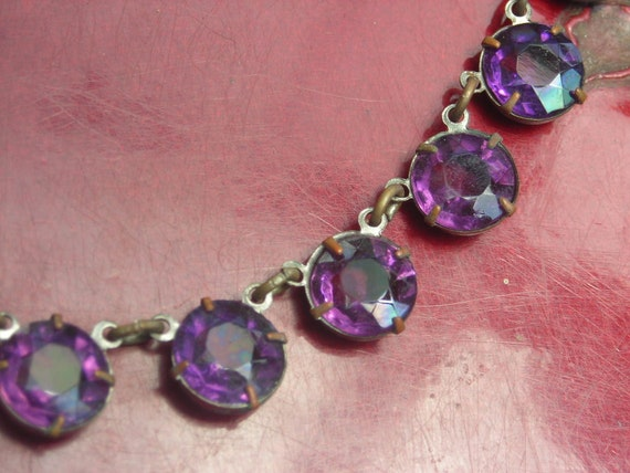Art Deco Necklace- Purple Open Back Stones