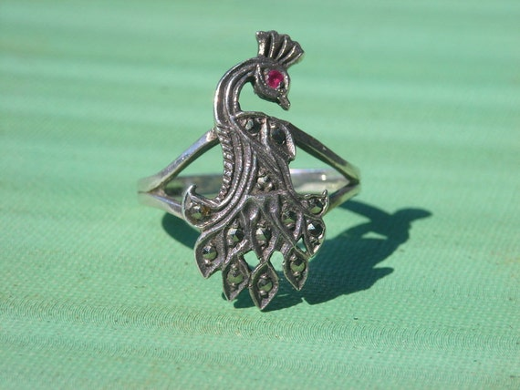 Art Deco Ring Sterling Silver Marcasite and Ruby Peacock