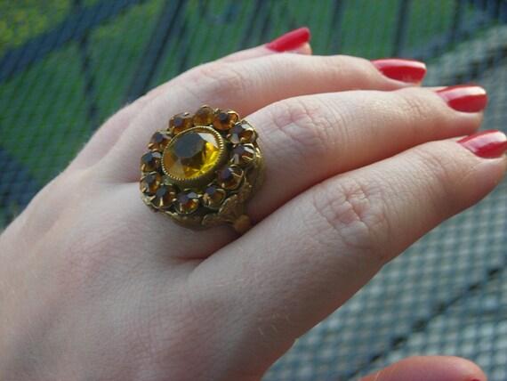 Art Deco Czech Rhinestone Ring