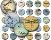 Inspirational Dragonflies Round Instant Download for Glass Resin Pendants 3 Pages of Sizes JPEG (MA-5)