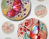 Butterflies Floral Deco Grunge Paper Instant Download 1,2,1.5 Inch Resin Glass Pendants Digital Collage Sheet Round Jpeg Images (C-3)