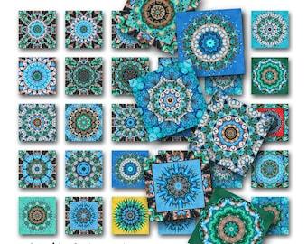 Mandala Squares Instant Download Resin Glass Scrabble Tile Pendants 1 Inch JPEG Images (M-12TD)