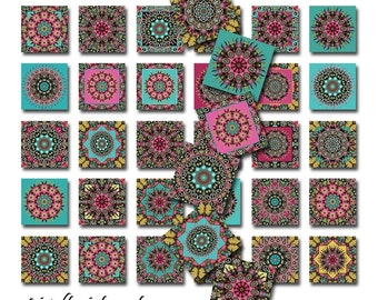 Mandala Altered Art Instant Download 2 Inch Squares JPEG Images Four Pages of 48 Different Designs (16-23)