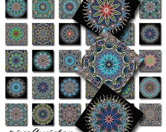 Mandala Altered Art Psychedelic Instant Download 1 Inch Glass Scrabble Tile Pendants JPEG Images (A-17P)