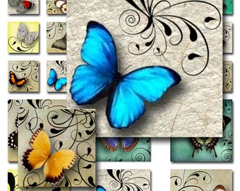 Butterflies Swirls 1 inch and 2 inch Squares Instant Download Digital Collage Sheet  JPEG Images (A-29-12)