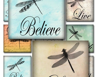 Dragonflies Ephemera Inspirational Words Watercolor Instant Download Glass Resin Scrabble Tile Pendants Square Digital JPEG (A-29D)