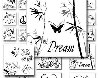 Black White Nature Theme 1 inch and 2 inch Squares Combo Instant Download Digital Collage Sheet JPEG Images (MA-112)