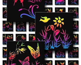 Rainbow Glow Nature Square Instant Download Resin Glass Scrabble Tile Pendants 1 Inch Images Digital Collage Sheet JPEG (MA-6R)
