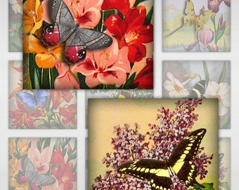 Butterflies on Vintage Floral Engravings, Instant Download, Resin, Glass, 1 & 2 Inch Sizes (MA-102)