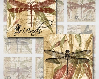 Dragonfly Bamboo Words Square Instant Download Resin Glass Scrabble Tile Pendants 4 Pages of Sizes JPEG (MA-17)