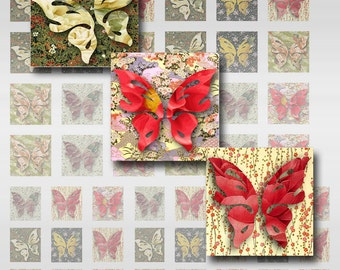 Butterfly Squares Instant Download 1 Inch for Resin Glass Scrabble Tile Pendants Jpeg Digital Image Collage Sheet (MA-19C)