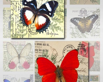 Butterfly Moth Vintage Postal Cards Instant Download Resin Glass Scrabble Tile Pendants 1,2,2.5 Inch Square Images JPEG (MA-25)