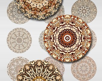 Mandala 1 and 2 Inch Round Circle Instant Download Digital Images Collage Sheet JPEG (MA-28)