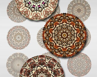 Mandala Instant Download 1 and 2 Inch Round Circle Digital Images Collage Sheet JPEG (MA-281)