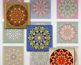 Mandala Square Flowers Instant Download for Glass Resin and Scrabble Tile Pendants 1 and 2 Inch JPEG (J-13)