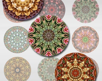 Mandala Round Exotic Flowers Instant Download 1 and 2 Inch for Glass Resin Pendants (J-13C)