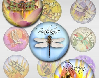 Dragonfly Water Lily Lotus Flower Instant Download 1, 1 1/2 & 2 Inch Round Digital Image JPEG (J-17C)