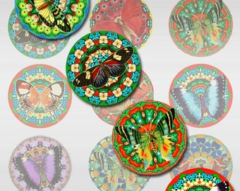 Butterfly Mandalas Rounds Circles Colorful Digital Instant Download 1 and 2 Inch JPEG (J-25)