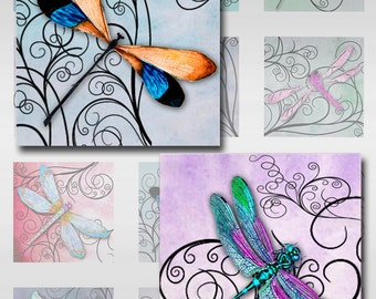 Dragonflies Swirls Pastel Watercolor Paper Instant Download Resin Glass Scrabble Tile Pendants Square 1 and 2 inch Jpeg Images (S-18)