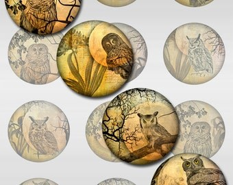 Owl Moon Ephemera Botanical Instant Download 1, 1.5, 2 Inch Rounds Circles for Glass and Resin Pendants (S-23)