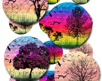 Tree Silhouettes Bird Ephemera 1 and 2 Inch Round for Glass and Resin Pendants Instant Download Jpeg Images (12-8)