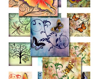 Butterflies Dragonflies Swirls Grunge Watercolor Background Square Instant Download for Glass Resin Scrabble Tile Pendants  (12-17)