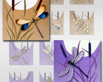 Dragonflies Moon Cattails Digital Collage Sheet Square JPEG Images (12-75)