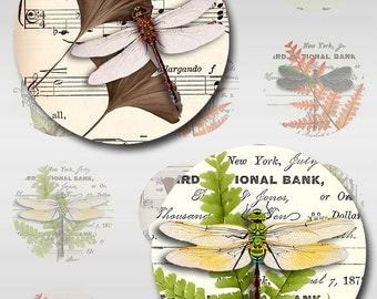 Dragonfly Vintage Ephemera Botanical Instant Download Round 1,2 Inch 12mm and 30x40mm Oval JPEG 4 Pages (12-89)