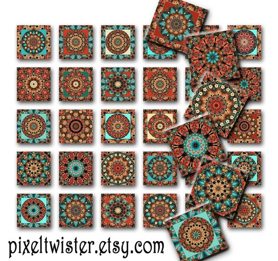 Mandalas Altered Art Instant Download for glass Resin Scrabble Tile Pendants Collage Sheet Square Images 1 Inch JPEG (M-12)