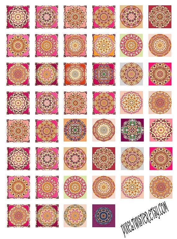 Pink Mandala Instant Download Resin Glass Scrabble Tile Pendants Collage Sheet 1 Inch JPEG (PP-1)