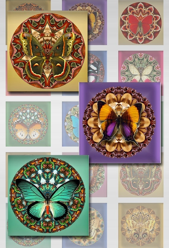 Butterfly Flower Mandala Instant Download for Resin Glass Pendants Squares 1 and 2 Inch Collage Sheet JPEG (J-132)