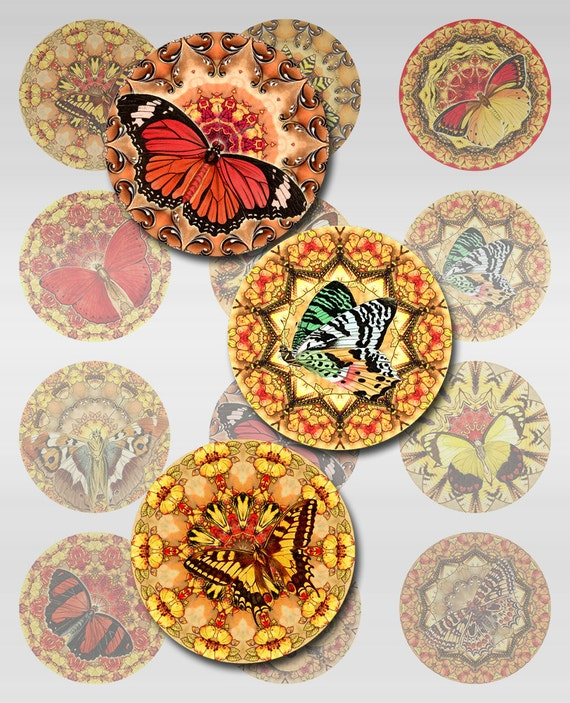Butterfly Mandala Instant Download 1 and 2 Inch Digital Image Collage Art Nouveau Rounds JPEG (AG-10)