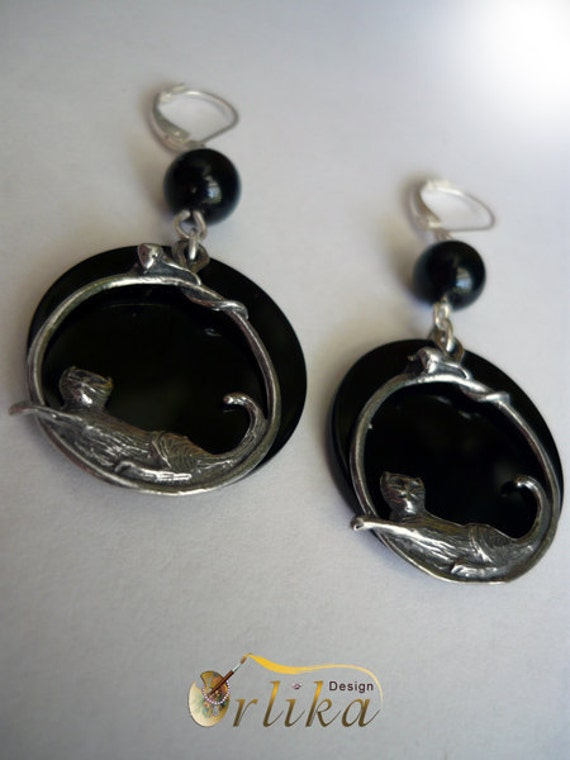 Reserved for Idea. Cat&Mous Earrings with black Onyx