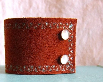 Southwestern Cuff for Women, Rust and Turquoise, Adjustable Cuff Bracelet, Leather Cuff for Woman, Southwest Fashion, Wide Cuff Bracelet